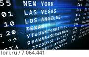 Купить «Departures board for american cities», видеоролик № 7064441, снято 25 июня 2019 г. (c) Wavebreak Media / Фотобанк Лори