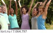 Купить «In high quality format fitness group putting hands together», видеоролик № 7064797, снято 22 августа 2018 г. (c) Wavebreak Media / Фотобанк Лори