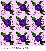Купить «Бесшовный декоративный узор с цветами в синих тонах», иллюстрация № 7069773 (c) Astronira / Фотобанк Лори