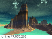 Купить «Чужая планета. Скалы и луна», иллюстрация № 7070265 (c) Parmenov Pavel / Фотобанк Лори