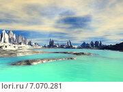 Купить «Чужая планета. Скалы и озеро», иллюстрация № 7070281 (c) Parmenov Pavel / Фотобанк Лори