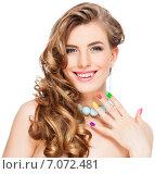 Купить «Woman applying makeup», фото № 7072481, снято 8 декабря 2013 г. (c) Гладских Татьяна / Фотобанк Лори