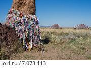 Купить «Часть каменной ограды с чаломами на фоне юрт», фото № 7073113, снято 14 июня 2014 г. (c) Светлана Попова / Фотобанк Лори