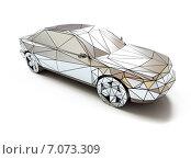 Купить «Стильный заниженный хромированный автомобиль на белом фоне, 3d, вид сверху», иллюстрация № 7073309 (c) Виктор Застольский / Фотобанк Лори
