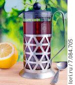 Черный чай и лимон. Стоковое фото, фотограф Петрова Инна / Фотобанк Лори