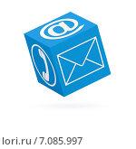 Купить «Голубой кубик с символами коммуникации на сторонах (изолированно на белом фоне) (3D рендеринг)», иллюстрация № 7085997 (c) Самохвалов Артем / Фотобанк Лори