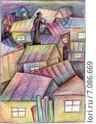 Скрипач на крыше. Стоковая иллюстрация, иллюстратор Лия Ерхонина / Фотобанк Лори
