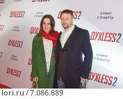 Александр Носик с супругой на премьере фильма «Духless 2», фото № 7086889, снято 3 марта 2015 г. (c) Сергей Сухоруков / Фотобанк Лори