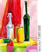 Яркий натюрморт с бутылками. Стилизация. Стоковое фото, фотограф Diana Borisova / Фотобанк Лори