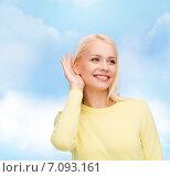 Купить «smiling young woman listening to gossip», фото № 7093161, снято 15 апреля 2014 г. (c) Syda Productions / Фотобанк Лори