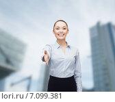 Купить «businesswoman with opened hand ready for handshake», фото № 7099381, снято 8 декабря 2013 г. (c) Syda Productions / Фотобанк Лори