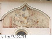 Купить «Фрагмент внешней фресковой росписи Успенского собора в Тихвине», эксклюзивное фото № 7100781, снято 21 июня 2014 г. (c) Самохвалов Артем / Фотобанк Лори