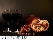 Натюрморт с вином и гранатом. Стоковое фото, фотограф Светлана Хромова / Фотобанк Лори