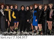 Купить «NEW YORK, NY - FEBRUARY 12: Models lineup after the runway at Big Park fashion show during Mercedes-Benz Fashion Week Fall 2015 at Beautique on February 12, 2015 in New York», фото № 7104917, снято 12 февраля 2015 г. (c) Anton Oparin / Фотобанк Лори
