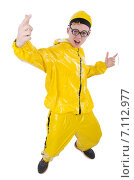 Man in yellow suit isolated on white. Стоковое фото, фотограф Elnur / Фотобанк Лори