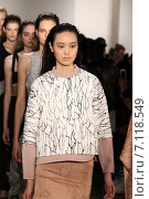 Купить «NEW YORK, NY - FEBRUARY 12: Models walk the runway at Jonathan Simkhai fashion show during MADE Fashion Week Fall 2015 at Milk Studios on February 12, 2015 in NYC.», фото № 7118549, снято 12 февраля 2015 г. (c) Anton Oparin / Фотобанк Лори