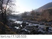 Газовая труба над горной рекой Нальчик. Стоковое фото, фотограф Алексей Гусев / Фотобанк Лори