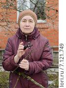 Купить «Пенсионерка осматривает ветви больного дерева», фото № 7121749, снято 9 марта 2015 г. (c) Марина Славина / Фотобанк Лори