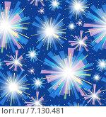 Бесшовный небесный фон с праздничным фейерверком. Стоковая иллюстрация, иллюстратор Куликова Татьяна / Фотобанк Лори