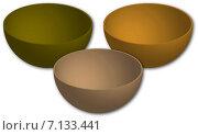 Посуда. Миски из бамбука. На белом фоне. Стоковая иллюстрация, иллюстратор Светлана Круглова / Фотобанк Лори