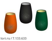 Посуда. Стаканы разноцветные с рисунком. На белом фоне. Стоковая иллюстрация, иллюстратор Светлана Круглова / Фотобанк Лори