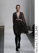 Купить «NEW YORK, NY - FEBRUARY 13: A model walks the runway at Zimmermann fashion show during Mercedes-Benz Fashion Week Fall 2015 at ArtBeam on February 13, 2015 in NYC.», фото № 7135349, снято 13 февраля 2015 г. (c) Anton Oparin / Фотобанк Лори