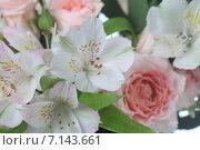 Купить «Букет из розовых и белых цветов», фото № 7143661, снято 7 марта 2015 г. (c) Елена Блохина / Фотобанк Лори