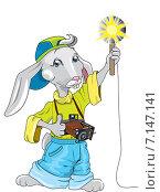 Заяц-фотограф. Стоковая иллюстрация, иллюстратор Павлова Елена / Фотобанк Лори