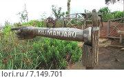 Купить «Указатель в виде руки и вытянутого пальца с надписью Килиманджаро. Танзания. Африка», видеоролик № 7149701, снято 3 декабря 2014 г. (c) Кекяляйнен Андрей / Фотобанк Лори