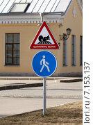 """Купить «Знаки """"пешеходная зона"""" и """"осторожно, белки!""""», фото № 7153137, снято 14 марта 2015 г. (c) Анна Сапрыкина / Фотобанк Лори"""