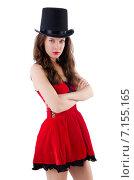 Купить «Female model posing in red mini dress isolated on white», фото № 7155165, снято 15 июня 2013 г. (c) Elnur / Фотобанк Лори