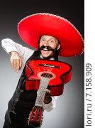 Купить «Mexican man wears sombrero isolated on white», фото № 7158909, снято 7 июня 2014 г. (c) Elnur / Фотобанк Лори