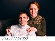 Семейный портрет молодой пары. Стоковое фото, фотограф Александр Сысоев / Фотобанк Лори
