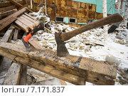 Купить «Снос старого ветхого жилья», фото № 7171837, снято 10 марта 2015 г. (c) Алексей Маринченко / Фотобанк Лори