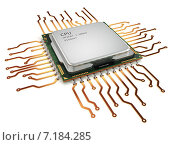 CPU central processor unit isolated on white. Стоковое фото, фотограф Maksym Yemelyanov / Фотобанк Лори