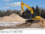 Купить «Гусеничный экскаватор на строительной площадке», фото № 7187741, снято 26 марта 2015 г. (c) Николай Мухорин / Фотобанк Лори