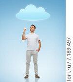 Купить «smiling man pointing finger up to cloud», фото № 7189497, снято 3 февраля 2015 г. (c) Syda Productions / Фотобанк Лори