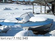 Купить «Катер на берегу замершей реки», фото № 7192949, снято 11 марта 2015 г. (c) Irina Timofeeva / Фотобанк Лори