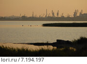 Утро за городской чертой. Портовые краны на берегу Калининградского залива. Стоковое фото, фотограф Svet / Фотобанк Лори