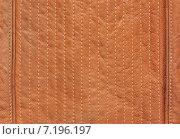 Купить «Ряд швов на рыжей натуральной коже», фото № 7196197, снято 30 марта 2015 г. (c) Алексей Голованов / Фотобанк Лори