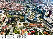 Купить «Aerial view of Sants-Montjuic district. Barcelona», фото № 7199805, снято 1 августа 2014 г. (c) Яков Филимонов / Фотобанк Лори