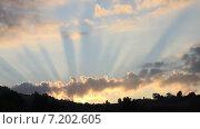 Купить «Лучи восходящего за облаками солнца над лесом летом», видеоролик № 7202605, снято 31 августа 2011 г. (c) Sanda Stanca / Фотобанк Лори