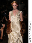 Купить «NEW YORK, NY - OCTOBER 09: A model walks runway at Johanna Johnson runway Show during Fall 2015 Bridal Collection on October 09, 2014 in NYC.», фото № 7212621, снято 9 октября 2014 г. (c) Anton Oparin / Фотобанк Лори