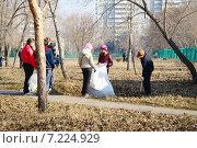 Купить «Школьники на субботнике убирают территорию», фото № 7224929, снято 14 апреля 2012 г. (c) Галина Хорошман / Фотобанк Лори