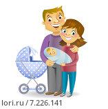 Купить «Счастливая семья с новорожденным ребенком», иллюстрация № 7226141 (c) Миронова Анастасия / Фотобанк Лори