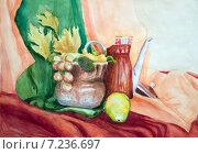 Купить «Натюрморт акварелью с чайником, горшком и грушей», иллюстрация № 7236697 (c) Emelinna / Фотобанк Лори