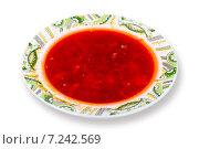 Тарелка традиционного русского борща на белом фоне, фото № 7242569, снято 9 марта 2015 г. (c) Евгений Ткачёв / Фотобанк Лори