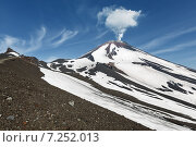 Купить «Вид на конус действующего вулкана Авачинская сопка с активной фумаролой. Камчатка», фото № 7252013, снято 8 июля 2014 г. (c) А. А. Пирагис / Фотобанк Лори