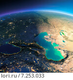 Купить «Земной шар. Вид на Кавказ и Каспийское море», иллюстрация № 7253033 (c) Антон Балаж / Фотобанк Лори