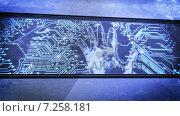 Купить «Hand print and circuit boards», видеоролик № 7258181, снято 20 марта 2019 г. (c) Wavebreak Media / Фотобанк Лори